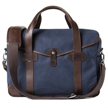 Barber Shop Bob Cut Medium Messenger Blue Canvas & Dark Brown Leather